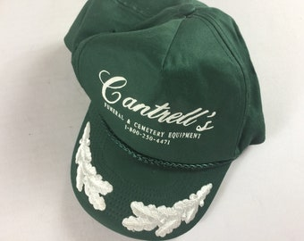 Cantrell's Double Snapback Hat Cap Funeral Cemetery Equipment Alabama Green