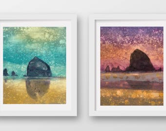 SET of TWO Haystack Rock Rain prints, limited edition, fine art prints, Cannon Beach, Oregon Coast