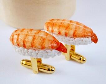 Prawn Sushi Cufflinks - Ebi Nigiri Sushi - Miniature Food Art Jewelry Collectable - Schickie Mickie Original 100% Handmade