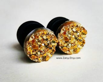 Gold Crystal Plugs for Gauged Ears, sizes 00g, 0g, 2g, 4g, 6g, earrings, 10mm, 8mm, 6mm, 5mm, One (1) Pair