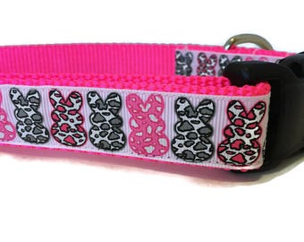 Easter Dog Collar, Animal Print Bunnies,  1 inch wide, adjustable 18-26 inches, quick release