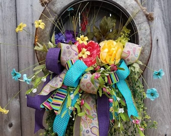 Summer Wreath, Floral Spring Wreath, Spring Wreath For Front Door, Mothers Day Gifts Garden, Floral Door Wreath, Floral Wreath, Door Wreath