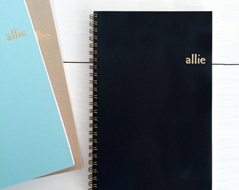 personalized gold foil pressed spiral notebook | custom cover with name and choice of color and lined, dot grid or blank pages | recycled