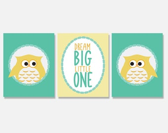 Owl Nursery Artwork, Dream Big Nursery Art Prints, Owl, Art Print Set, Woodland Nursery Art, Digital Art Prints, Digital Download Artwork
