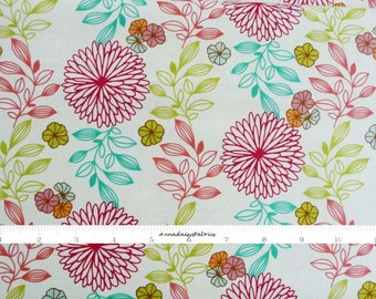 Summer Floral Fabric, Red Rooster Fabrics Cucina Fresco 24478 Multi 1, Red, Aqua, Olive, Floral Quilt Fabric, Flowers, Anna Fishkin, Cotton