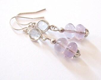 Lavender Purple Fluorite Earrings with Faceted Clear Quartz, Sterling Silver Drop Earrings, Flower Motif, Ear Wire Options