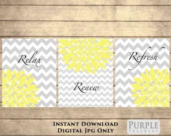 Relax Renew Refresh Yellow Printable Wall art Set Instant Download Flower Bursts Chevron Gray Yellow Bathroom Decor 8x10 JPEG Files (72)