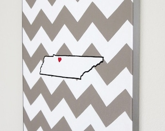 hand painted Tennessee state outline with chevron background 11X14 canvas, customizable