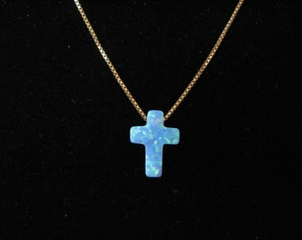 14K Gold Chain with Blue Opal Cross, Opal Charm Necklace