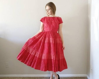 50% OFF Vintage 1950s Red Rose Party Dress/50s Dress/X-Small