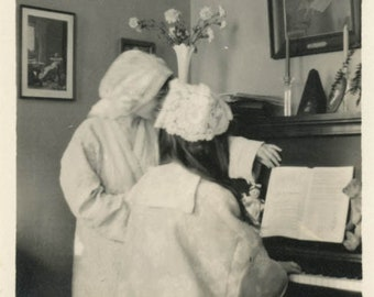 vintage photo 1914 Women from Back Play Music on Piano in Cap & Nite Robes