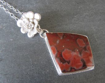 Hornitos Poppy and Cast Succulent Pendant in Sterling Silver