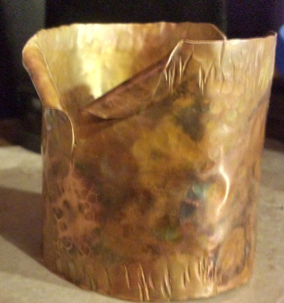 RAW Hammered Copper Cuff Bracelet