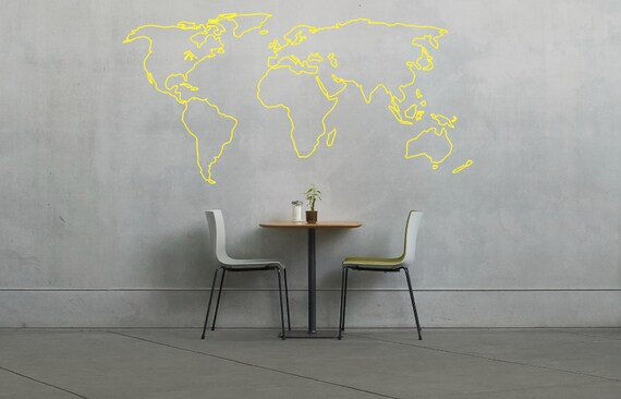 World map outline decal large world map wall decal wall like this item gumiabroncs Gallery