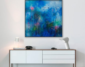 Waterlily painting Pond painting Blue painting Abstract painting on canvas Abstract art Waterlily pond original painting Abstract blue art