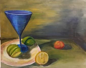 Still life painting of Martini glass with citrus, lime, lemon, mandarin cutie,
