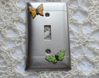 Switchplate Copper Enameled butterfly's on aluminum switchplate single toggle