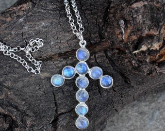 Natural RainMoonstone Necklace in 925 Sterling Silver with cabochon gems,These Necklace were handcrafted in silver and bezel setting
