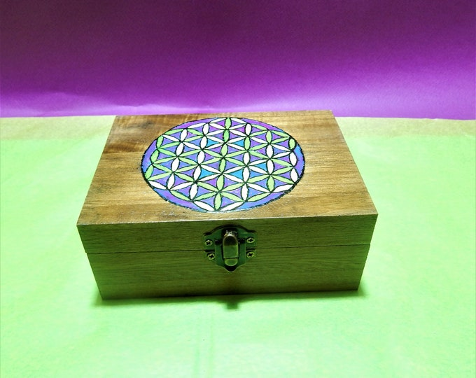 Flower of Life box, sacred geometry, Seed of Life, Yoga,  Wood Box, Jewellery Storage, Watch Box, hand painted Gift Box,storage box