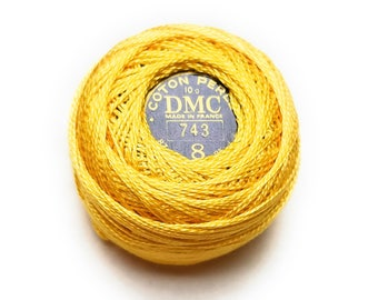 DMC 743 Medium Yellow Perle Cotton Thread Size 8
