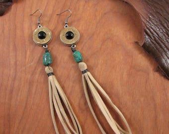 Tassel Earrings - Shoulder Dusters - Bullet Jewelry - Boho Western Style 20 Gauge Long Deerskin Lace Duster Dangle Earrings