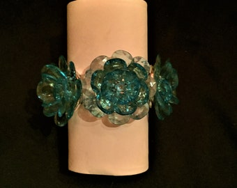 Chunky Blue Bracelet w/ Large Flowers