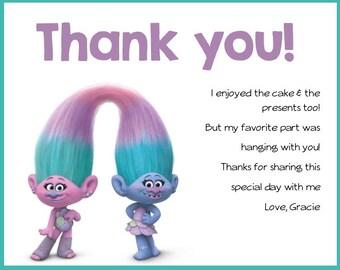 Trolls- Birthday Party Thank you Card