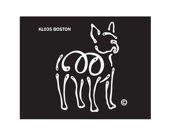 Boston Terrier K Lines Dog Car Window Decal Sticker