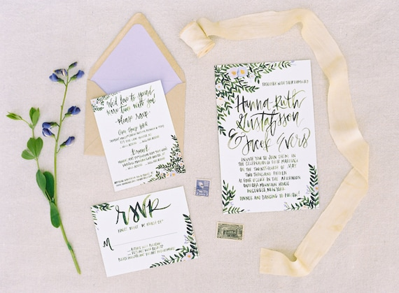 Tuscan Themed Wedding Invitations: Tuscan Inspired Greenery Wedding Invitations Calligraphy
