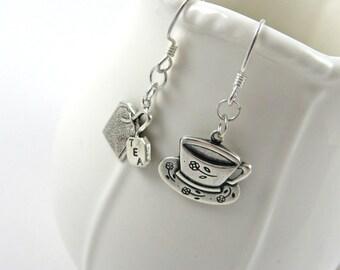 Tea Lover Gift: Tea Earrings (Tea Bag, Tea Cup, Teapot Jewelry for Tea Party)