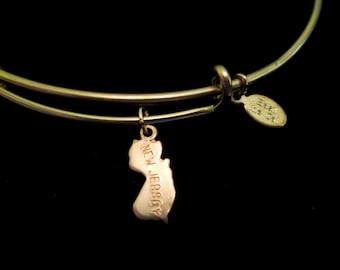 Teensy State Charm Brass Wire Bracelet