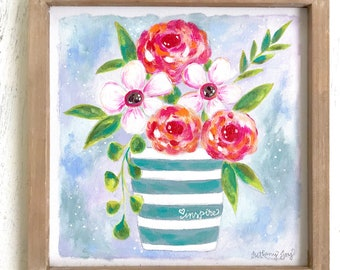 "Spring Flower Bouquet in Striped Vase ""inspire"" Original 12x12 inch painting with wooden frame / Colorful Farmhouse Decor / floral art"