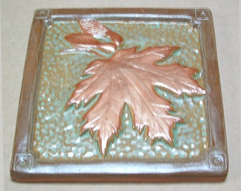 6 inch Maple Leaf Tile for fireplace or kitchen with green and copper glaze.