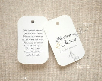Sugared Almonds Personalized Gift Tags - Jordan Almond Favor Tags - Wedding Favor Tag - Wedding Bomboniere - Set of 20 (Item code: J558)