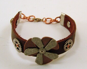Brown Leather Bracelet Steam Punk Style Mixed Metal