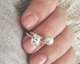 Designer's Favorite Set • Set of [2] Rings • Pearl Ring • Emerald Cut CZ • Solitaire Ring • .925 Sterling Silver • Ring Set • Jewelry