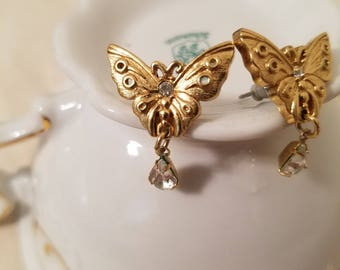 Gold Butterfly Stud Earrings with Teardrop Clear Jewels