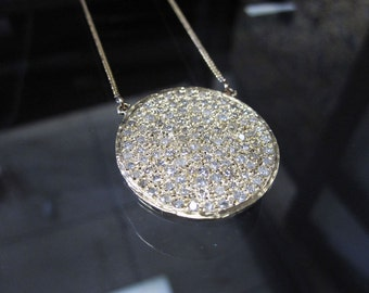 14K Gold Big Round Circle Pave Pendant Necklace with Diamonds, Handmade Necklace 6J8080