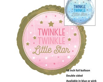 Twinkle Twinkle Little Star Balloon, Pink and Gold Baby Shower, 18 inch, Girls First Birthday Ideas, Gold Stars, Gender Reveal, Decorations