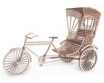 3D Puzzle, Laser cut MDF, Rickshaw, Table Sculpture, Indian Tricycle, DIY Model Kit, DIY Gift Wooden Miniature Bicycle, Home Decor Souvenir