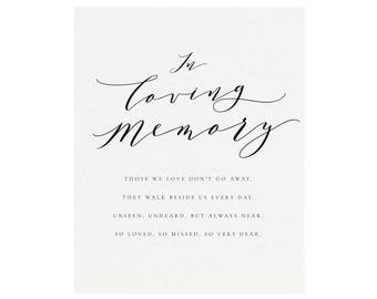 """Melia: 5x7 AND 8x10 Calligraphy """"In Loving Memory"""" Sign, Printable Memorial Wedding Sign, Printable Wedding Sign, PDF Instant Download"""