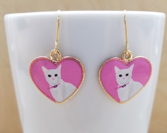 White Cat, Pink Heart Earrings