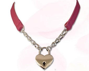 Sweetheart Heart Lock Collar Leather Submissive BDSM Daytime Slave Collar PINK
