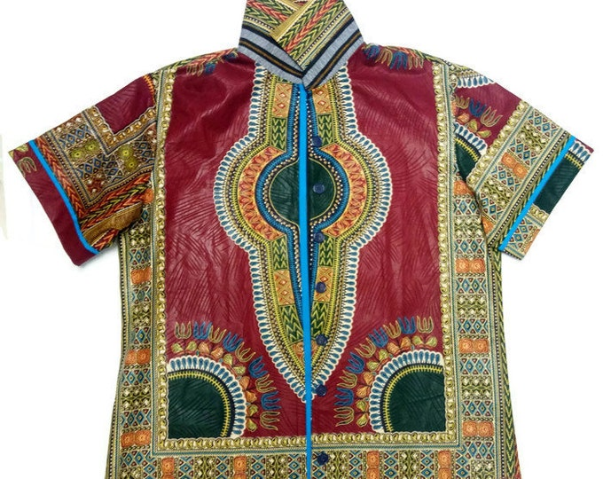 19 Inch Neck Plus Size Mens Clothing, Size 52 Chest Burgundy  African Dashiki Shirt, XXL African Clothing, Plus Size Clothing For Men