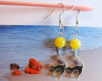 Cat Amber Earrings hook wire clasp silver color cat figure, round beads yellow egg yolk butterscjtch for Catlovers