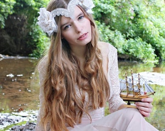 Ophelia flower headpiece, velvet rose crown, bridal headdress