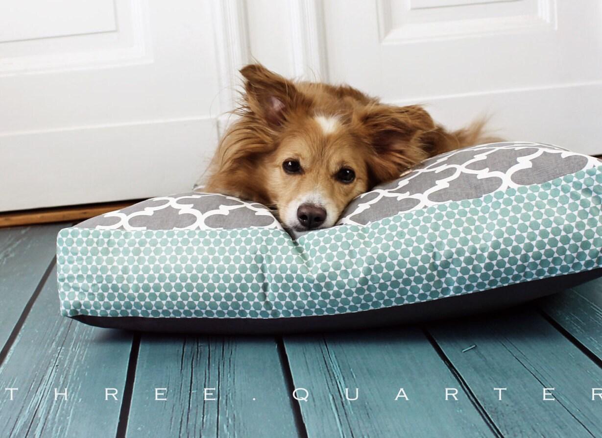 Hundekissen Hundebett mint grau Muster weiß hellgrau