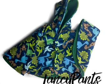 Size 2 dinosaur cuddle minky fleece car seat poncho - made to order - winter kids children's poncho -infant poncho - 12-24 months