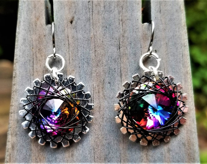Spirograph Inspired Dark Rainbow Swarovski Crystal Earrings in Silver Setting with Silver Wire
