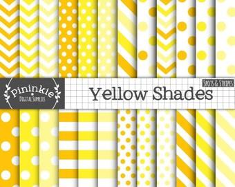 Spots & Stripes Yellow Digital Paper, Easter Digital Scrapbooking Paper, Light Yellow, Dark Yellow, Yellow Chevrons, Yellow Polka Dots, CU